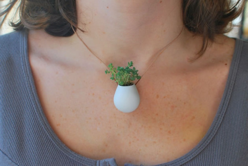 Nifty Necklace of the Day: Wearable planters by Etsy seller...